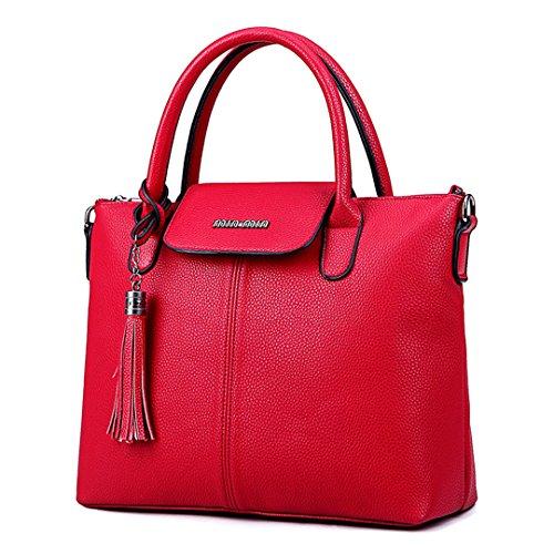 Wewod 2017 Neu Frauen Einfarbige Vintage Handtasche Madchen Umhängetasche Mit Tassel (Rotwein)
