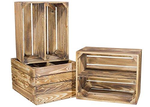 3er Set geflammte Kiste für Schuh-und Bücherregal - Mittelbrett längs - Obstkiste Johanna Holzkiste Kistenregal Regalkiste Obstkistenregal Dekokiste mit Ablage Schuhschrank Schuhkiste 50x40x30cm