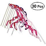 SUPVOX 30PCS Wedding Wands Ribbon Streamers con campana bastone fata mix colore Bomboniere forniture seta cromatica Wish bacchette per le attività di partito