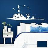 Grandora Wandtattoo Skyline Strand Leuchtturm Möwen I dunkelblau (BxH) 120 x 49 cm I Schlafzimmer Wohnzimmer Sticker Aufkleber Wandaufkleber Wandsticker W946