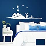 Grandora W946 Wandtattoo Leuchtturm Skyline I dunkelblau 142 x 58 cm I Vögel maritim Bad Badezimmer Aufkleber Wandaufkleber Wandsticker