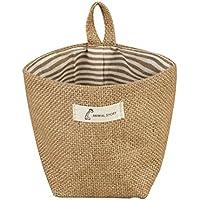 BIGBOBA – Cesta de almacenamiento de lino y algodón simple para montar en la pared, bolsa de almacenamiento, maceta de flores pequeñas bolsas 14 x 12,5 cm, algodón y forro, colorido, B