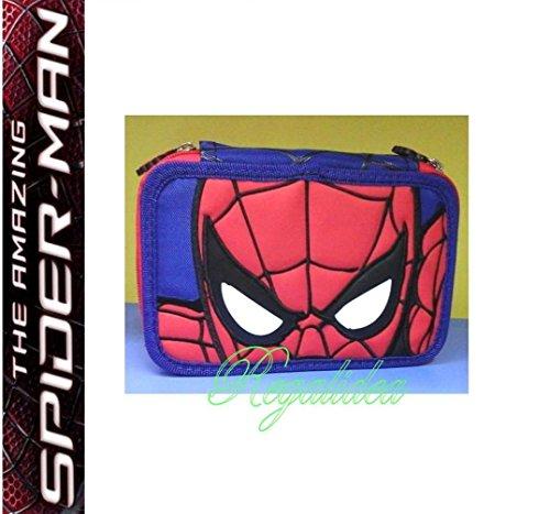 Estuche escolar de Spiderman para hombre con 3 niveles completos 2017/2018 + bolígrafo de purpurina de regalo