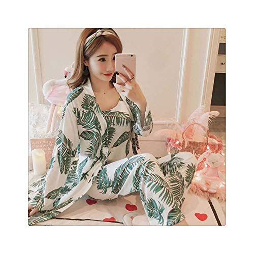 Women's 3 Pieces Pajamas Sets Spring and Summer Home Furnishing wear Three Sets Pajamas Gown Shirts Wide Leg Pants homewea 3jiantao dasanye lv XL