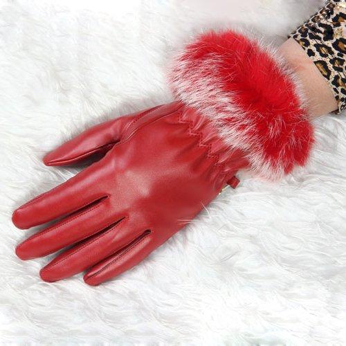 TOOGOO (R) Fashion Dame Weiches Leder Handgelenk Lange Handschuhe mit Cosy Samtfutter - (Samt Lange Handschuhe)