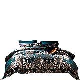 BB.er Home Textile Luxury Villas hochwertiges schweres Maulbeerseide blau Bettwäsche Garn gefärbt 100 Seide 4-teilig, 2 m