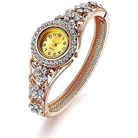 Oven Moda Las mujeres brazalete Vintage pulsera reloj Quarta para se?oras madre regalo oro rosa plateado hueco joyer¨ªa per¨ªmetro:20.5cm