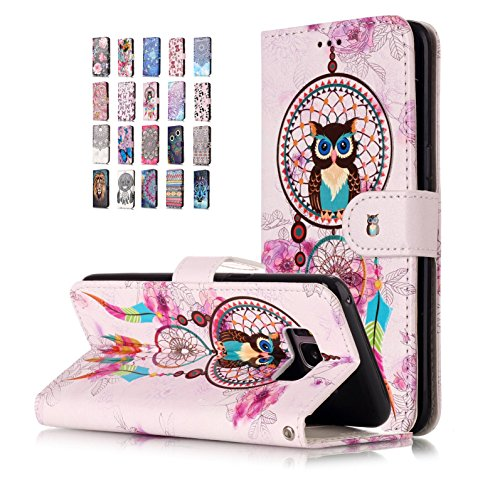 Universecase Hülle Kompatibel mit Samsung Galaxy A20E Eule Traumfänger Flip Case Magnetverschluss Ledertasche Bookstyle Silikon Bumper Wallet Cover Tasche -