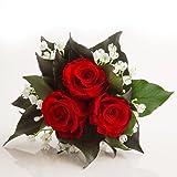 Blumenversand Blumenstrauß mit exklusiven, konservierten langhaltenden Rosen Brautstrauß für Hochzeit und Heirat von ROSEMARIE SCHULZ GmbH Heidelberg (3 Rosen, Rot)