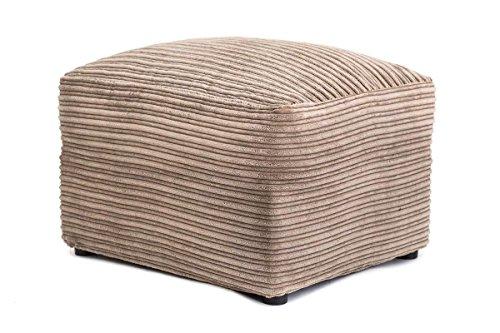 Lush divano angolare, in finta pelle scamosciata e tessuto a coste larghe, marrone e beige, brown, footstool