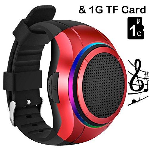 Reloj con altavoz Bluetooth, de la marca Frewico, para practicar deporte al aire libre. Incluye reproductor mp3,linterna, micrófono y temporizador automático, para caminar, correr, hacer ciclismo, senderismo, ejercicios, con tarjeta microSD de 1GB, rojo