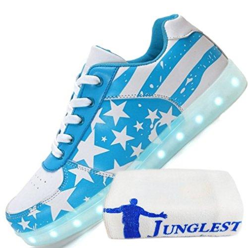 (Présents:petite serviette)JUNGLEST - 7 Couleur Mode Unisexe Homme Femme USB Charge Lumière Lumineux Chaussures de marche LED Ch Azure 1