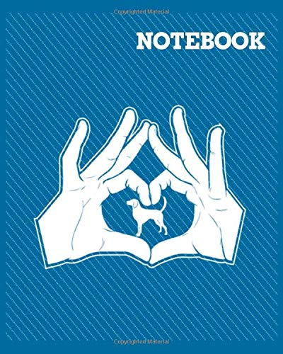 NoteBook: american foxhound hands heart sign – 50 sheets, 100 pages – 8 x 10 inches