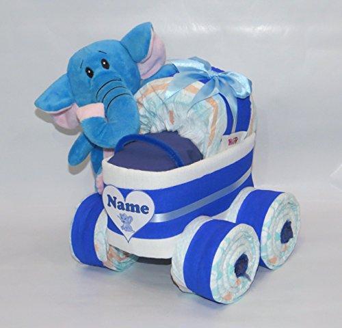 Windeltorte – Windelkinderwagen XL-Reifen Elefant blau