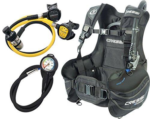 Cressi Start Scuba Set Jacket Start, Erogatore AC2 Compact e Octopus Compact e Minimanometro con frusta, Unisex – Adulto, Nero/Blu, M