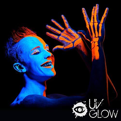 UV Glow 6 x 10ml UV-Bodypaint Körpermalfarben Schwarzlicht fluoreszierende Schminke Bodypainting Neon Farben Leuchtfarben