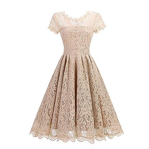 Soviyas Women's Retro Floral Lace Cap Sleeve Vintage Swing Bridesmaid Dress Champagne Large