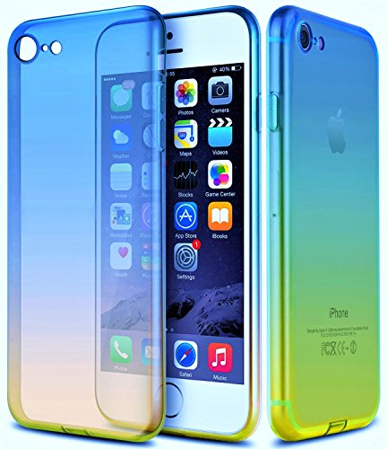 Hülle iPhone 7 Hülle BLUE / PURPLE Hülle MAXXmobile Tasche Schutzhülle Case Cover Bumper Anti-Scratch Silikon Schutzhülle Back iPhone 7 Hülle Stoßfest BLUE / PURPLE Bunte Hülle ipgone 7 ipjone 7 Hülle Blue / Yellow
