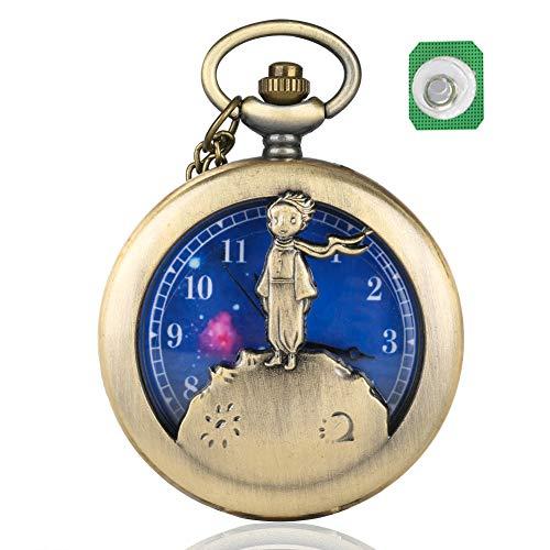 Reloj de Bolsillo de Cuarzo con diseño de Principito para Hombre, dial Azul Planeta, Reloj de Bolsillo...