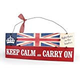 Heartwarmers Keep Calm and Carry on Vintage Wooden Union Jack Sign Plaque