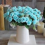 1 ramo de 15 rosas artificiales para decoración del hogar, Navidad, fiesta, boda, ramo de decoración floral, seda sintética, azul, Medium