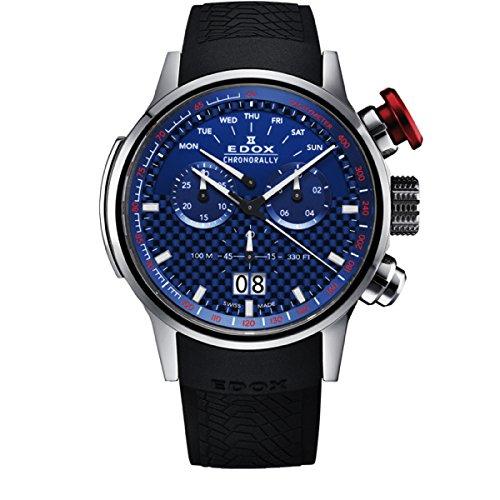EDOX Orologio Cronografo Quarzo Uomo con Cinturino in Gomma 38001-TIN-BUIN