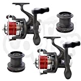 NGT 2 x Large Sea Fishing Beachcaster Reel Reels With Line 3BB BM7000FD