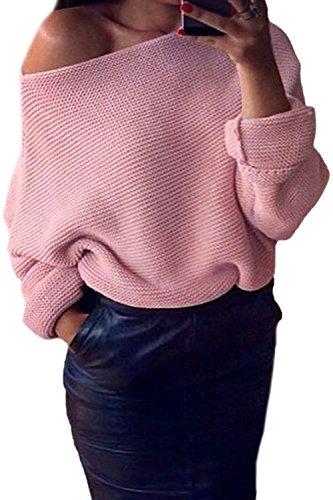 Les Femmes De Lhiver Une Épaule En Pull - Over Chandail À Manches Longues. pink