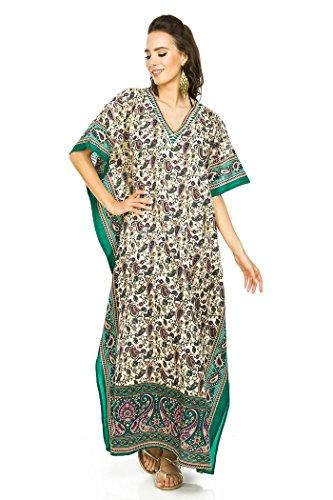 NUOVO da donna, oversize maxi Kimono Kaftan Tunica Abito Caftano Taglia unica Verde (Green-17012)