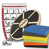 POWRX - Balance Board in Legno + Balance Pad Deluxe in GOMMAPIUMA (Giallo)