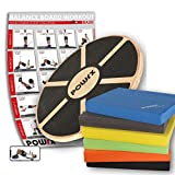 POWRX Balance-Board aus Holz + Balance-Pad Set in Verschiedene Farben (Grau)