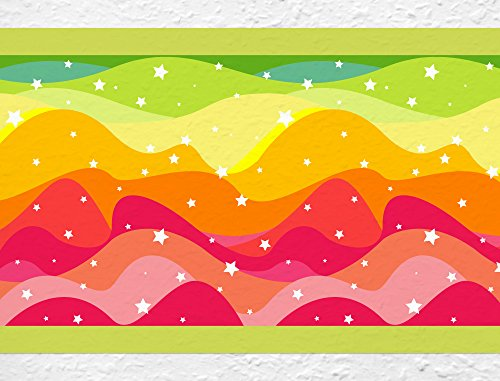 I-love-Wandtattoo b-10147 Kinderzimmer Bordüre Funkelnde Wellen Junge Mädchen Wanddeko Wandaufkleber Wandsticker Wandtattoo