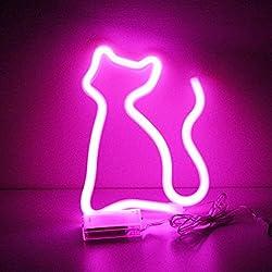 XIYUNTE Katze Pink Leuchtreklamen - LED Pink Neonlicht Katze Leuchten Zeichen Wandleuchten Batterie und USB betrieben Neonröhren Room Decor für Schlafzimmer, Wohnzimmer, Hochzeit, Weihnachtsgeschenk