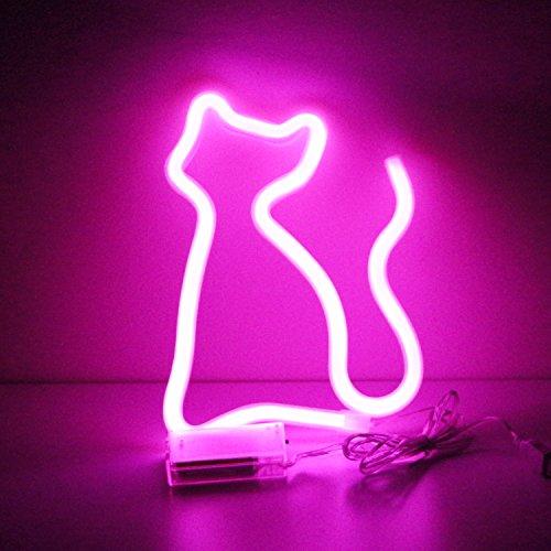 LED Home Neon Light Signs–Night Lights Warm Weiß Neon Leuchten Wall Decor Akku und USB Power Indoor Beleuchtung Bett und Tisch Home Dekoration für Wohnzimmer, Schlafzimmer, Party, Weihnachten Hochzeit Geburtstag Geschenk Art Deco A-b-pink Cat - Ergänzung Behandeln