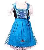 Trachtenkleid 3tlg. Kinder Dirndl Mädchen Kleid Gr. 92,104,116,128,140,146,152, türkis weis kariert, 146