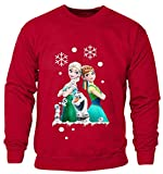 New Kids Childrens Boys Girls Frozen Disney Queen Elsa Anna And Olaf Merry Ymas Christmas Sweatshirt Jumpers 2-14 years (Kids 5-6 Years) Red