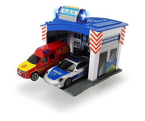 feuerwehrstation dickie Dickie Toys 203713003 - Rescue Station, Rettungswache mit Polizei- und Feuerwehrauto inklusive Batterien, 15 cm