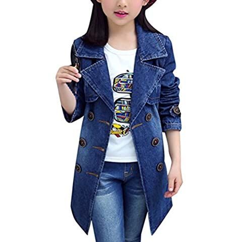 Zhhlaixing Little Girl Double-Breasted Blue Washed Denim Long Sleeve Jacket Casual Jean Coat for Autumn Winter