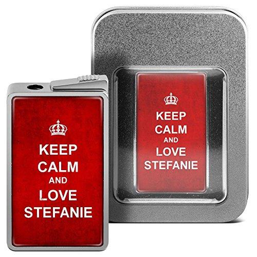 Feuerzeug mit Namen Stefanie - personalisiertes Gasfeuerzeug mit Design Keep Calm - inkl. Metall-Geschenk-Box 2