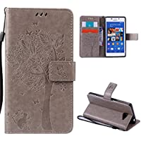 Sony Xperia M2 Case,Skin Durable Protective Case Premium PU Leather Wallet Case Durable Protective Case with Kickstand and Credit Card Slot Cash Holder Flip Cover for Sony Xperia M2 Grey