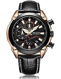 d547822aa07 MEGIR Mens Military Sports Watch Quartz Analog Waterproof Pilot  Multifunction Luminous Leather Chronograph Wristwatches Fashion Casual