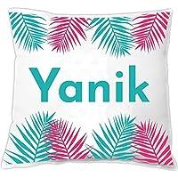 deinzigartig 3er Set Kissen personalisiert mit Namen & Palmenblatt Dekokissen mit Deinem Wunschtext Zierkissen