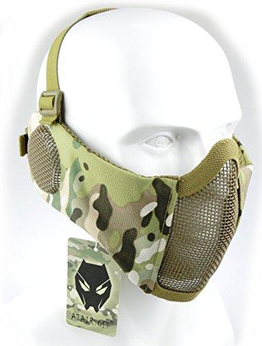 Worldshopping4u Taktische halbe Gesichtsmaske, für Airsoft, Schutz für untere Gesichtshälfte, Geflecht, Nylon, mit Ohrschutz, MC -