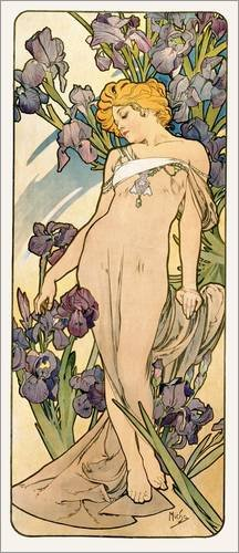 Stampa su legno 40 x 90 cm: The Flowers - Lovely Iris di Alfons Mucha