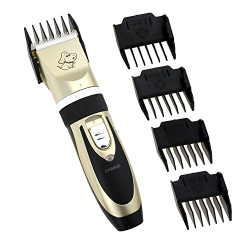 WisFox-Pet-Grooming-Clippers-Rechargeable-Cordless-Pet-Hair-Shaver-Electric-Clippers-Grooming-Trimmer-Kit-Set-with-Low-Noise-Vibration-Including-4-Comb-Guides-Steel-Scissors-Cleaning-Brush-for-Dogs-Ca