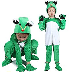 Matissa Disfraces de animales para niños Disfraz de pijama con capucha y unisex (Rana, XL (para niños de 135-150 cm de altura))