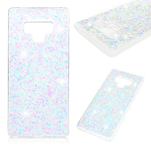 Galaxy Note 9 Fall, Kawaii Bling Glänzend Glitter Sparkle Crystal Clear Case Stoßdämpfung Soft TPU Bumper Rahmen + Slim Fit Acryl Back Shell Ultra Leicht Rubber Cover für Samsung Galaxy Note 9