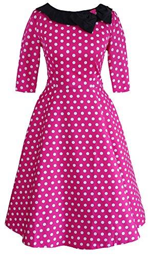 Milk Moon Vintage -  Vestito  - A pois - Maniche a 3/4 - Donna Rosa