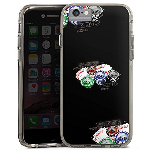 Apple iPhone 7 Plus Bumper Hülle Bumper Case Glitzer Hülle Poker Kartenspiel Casino Bumper Case transparent grau