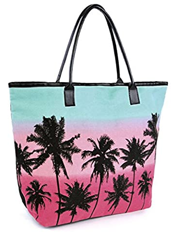 Womens Summer Palm Tree Canvas Design Beach-Pool-Swim-Tote Large Bag Teal & Pink